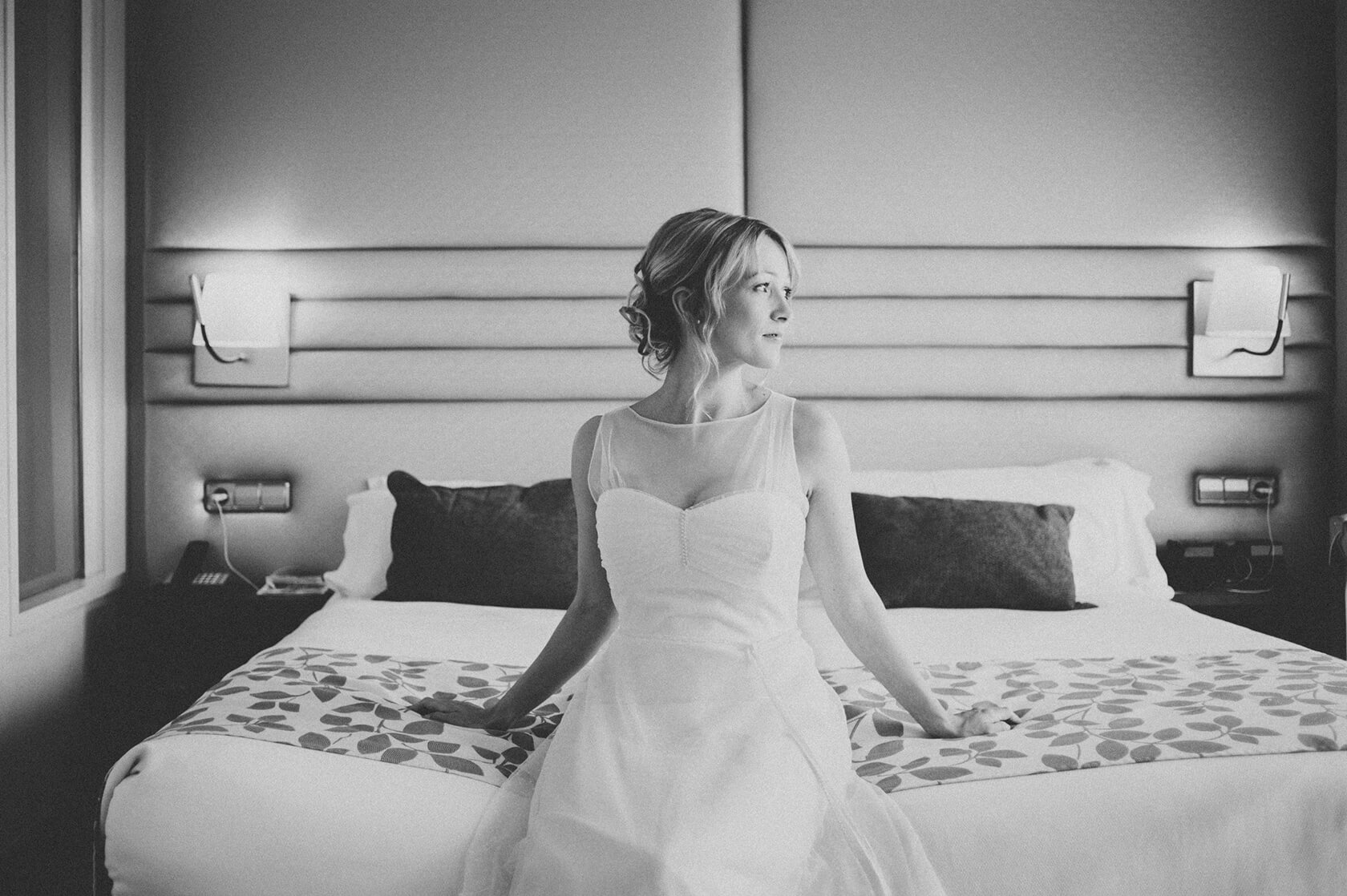 bride's dress in hotel-h10 Marina, Barcelona